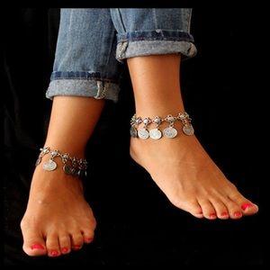 Silver gypsy boho coin anklet / bracelet